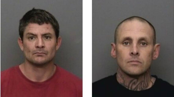 Police said a woman in Redding, California, used a stolen Apple Watch's GPS to track down two burglary suspects, 43-year-old Mike Leyva, left, and 40-year-old Marlin Pierson, right. (via: Redding Police Department)