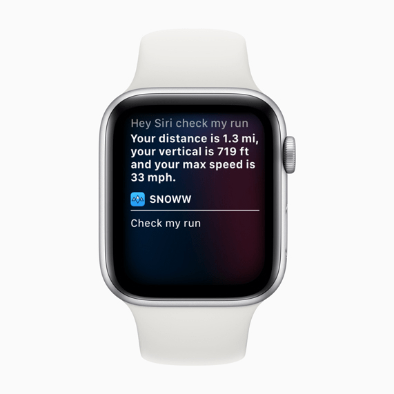 """The Snoww app now integrates Siri Shortcuts, so skiers can start a run by simply saying: """"Hey Siri, let's ski!"""""""