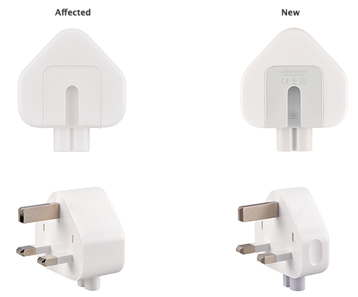 Affected three-prong wall plug adapters are white, with no letters in the inside slot where it attaches to an Apple power adapter. New adapters are white with gray on the inside portion that attaches to the power adapter.