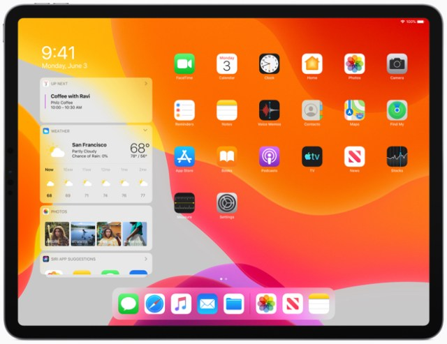 iPadOS features a new Home screen with more apps and a Today View for information at a glance.
