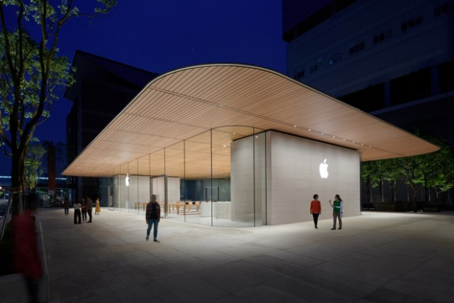 Apple Xinyi A13 features a two-story, free-standing pavilion design with a carbon fiber reinforced roof.