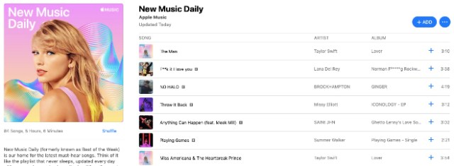 "Apple Music today launched a new curated playlist called ""New Music Daily"""