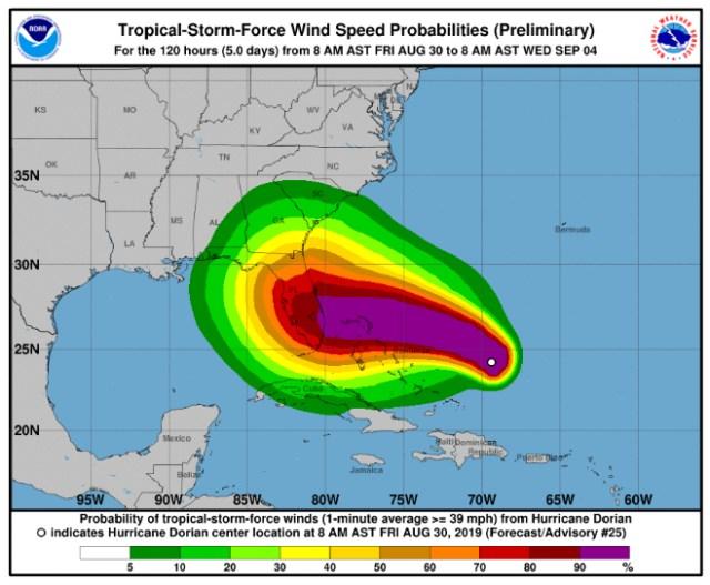 Hurricane Dorian wind-speed probabilities
