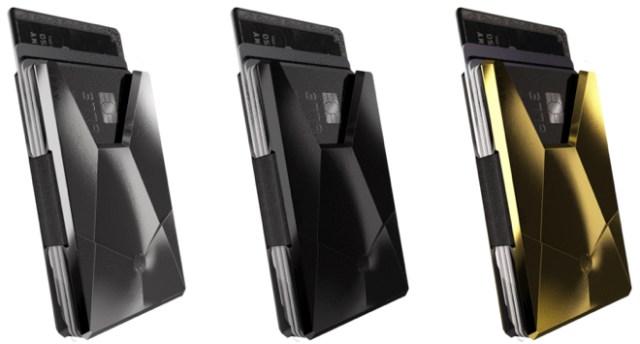 Gray's Apple card cases include the Vandium Titanium - $495 (left), Vandium Stealth Titanium - $894 (center), Vandium Gold Titanium - $1293 (right)