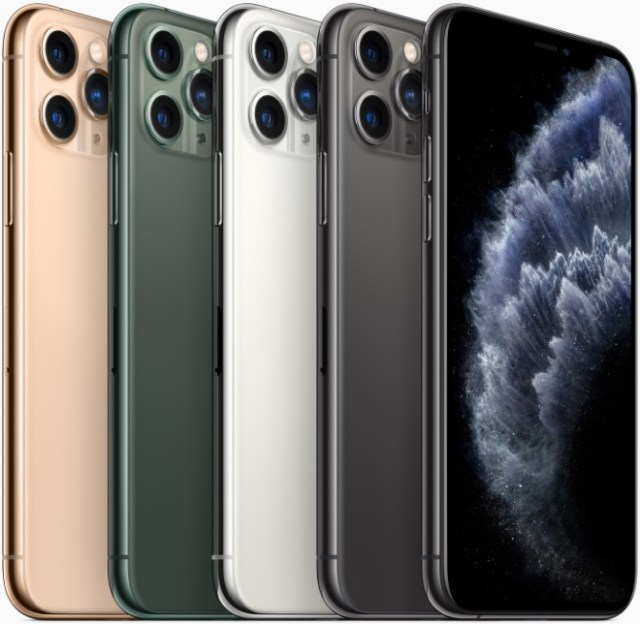 iPhone 11 Pro and iPhone 11 Pro Max come in midnight green, space gray, silver and gold finishes.