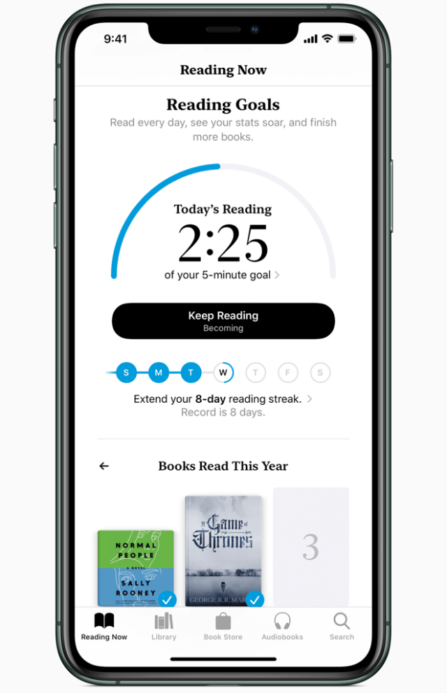 The new Reading Goals feature on Apple Books with iOS 13 helps readers make reading a daily habit more easily.