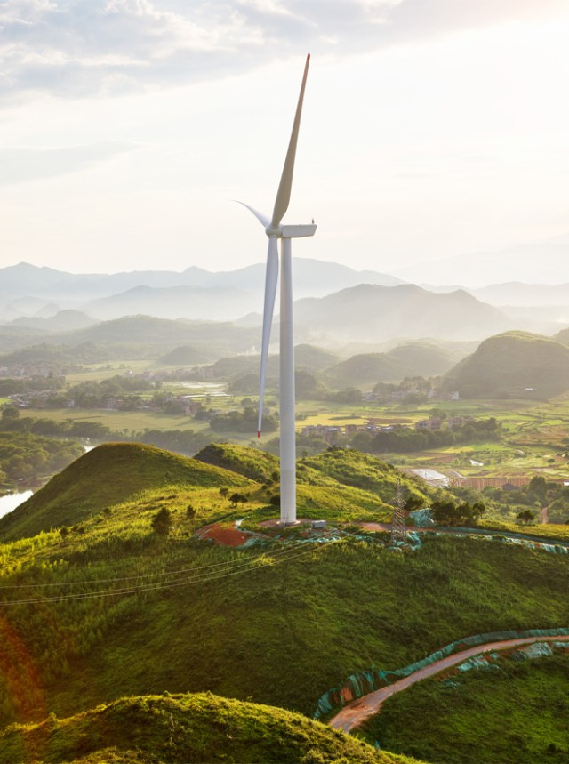 Each wind turbine at Concord Jing Tang has a rotor diameter of 121 meters, generating 2 MW of clean energy.