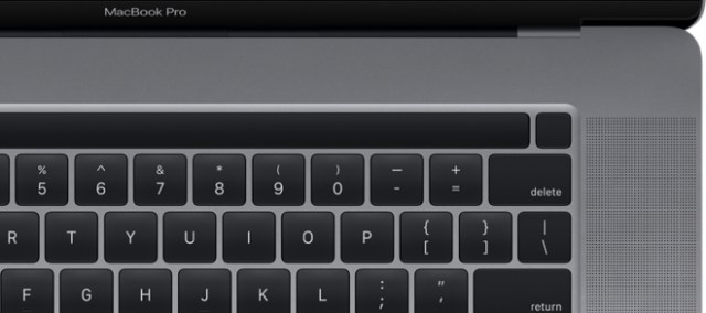Image found in macOS 10.15.1 reveals 16-inch MacBook Pro with power / Touch ID key separated from the screen of the Touch Bar (image: 9to5Mac.com)