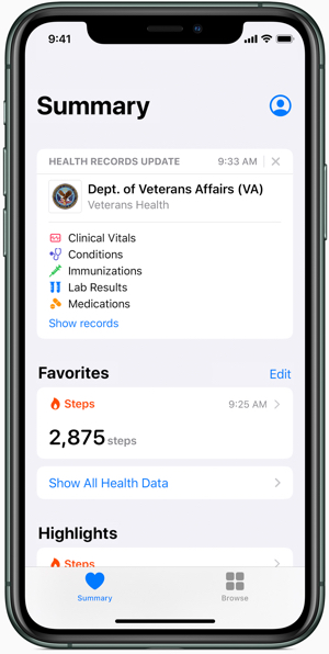 Apple health data: Health Records on iPhone brings together veterans' hospitals, clinics and existing information on the Health app to make it easy for them to see their medical data across multiple providers.