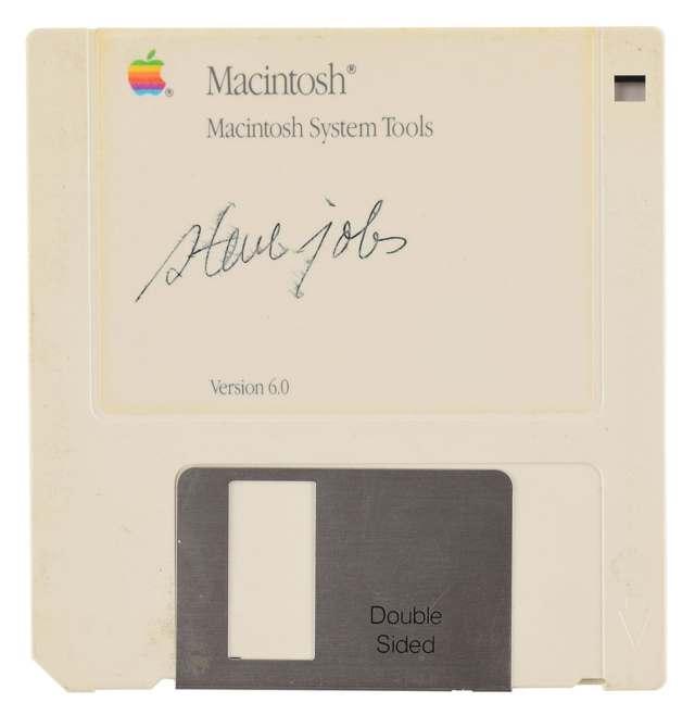 Macintosh floppy disk signed by Steve Jobs