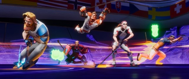"""Ultimate Rivals: The Rink"" from Bit Fry Game Studios, Inc. features Justin Turner (MLB), Alex Ovechkin (NHL), Wayne Gretzky (NHL), Alex Morgan (USWNT) and Jose Altuve (MLB) playing hockey."