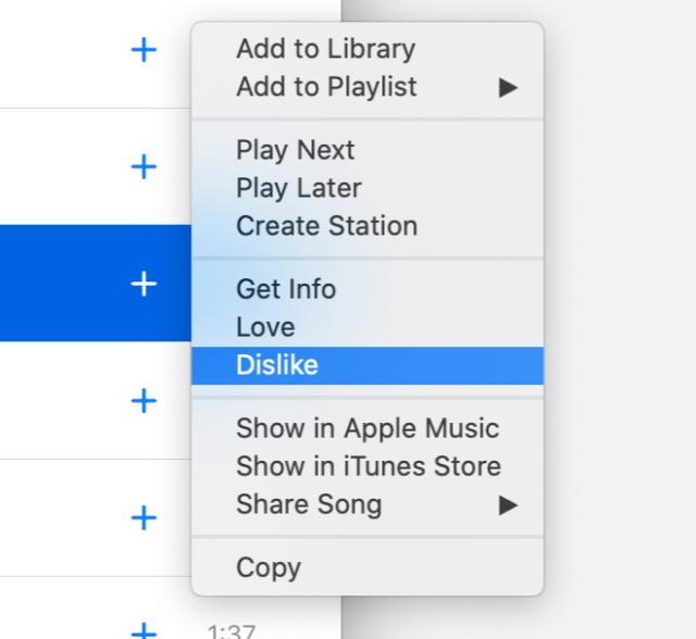 Apple Music 'Dislike' tag on macOS