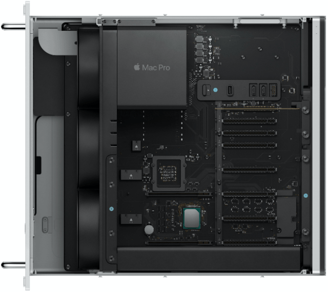 Apple's rack mountable Mac Pro (top)