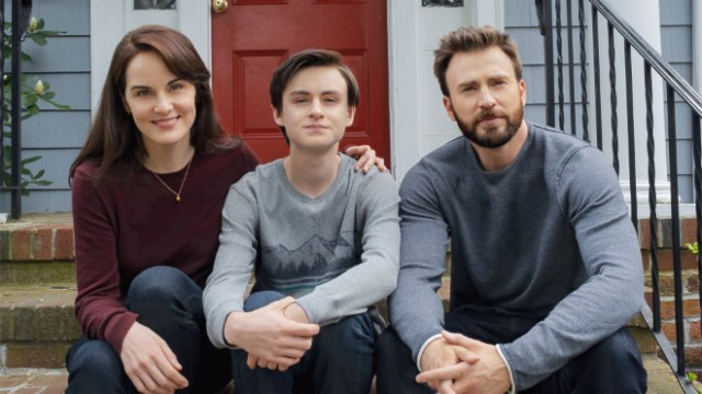 "Michelle Dockery, Jaeden Martell and Chris Evans in ""Defending Jacob,"" premiering April 24 on Apple TV+."