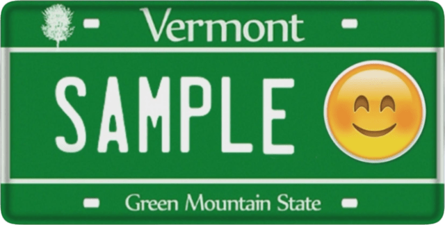 Sample Vermont emoji license plate