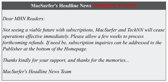 MacSurfer shuts down