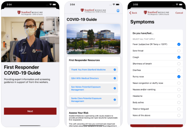 drive-through COVID-19 tests. Image: The First Responder COVID-19 Guide app from Stanford Medicine