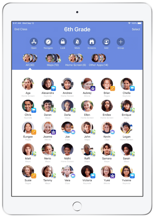Apple's Classroom app on iPad