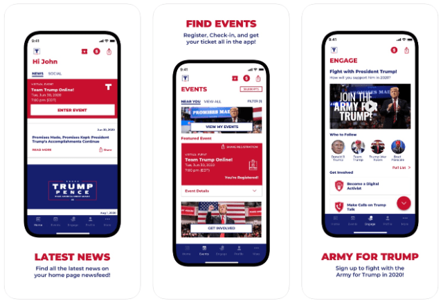 Official Trump 2020 App (image via Apple App Store)