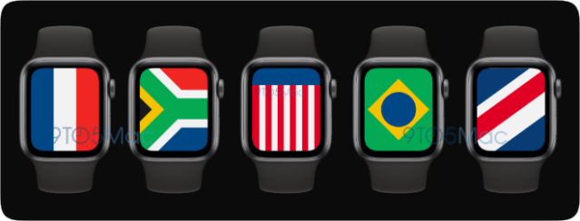 """watchOS 7 is expected to include a new digital watch face called """"International"""" featuring different countries' flags."""