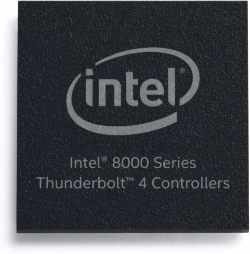 In July 2020, Intel announced the Thunderbolt 4 controller 8000 series, which includes JHL8540 and JHL8340 host controllers for computer makers and JHL8440 device controller for accessory makers. Thunderbolt 4 developer kits and certification testing are available. (Credit: Intel Corporation)
