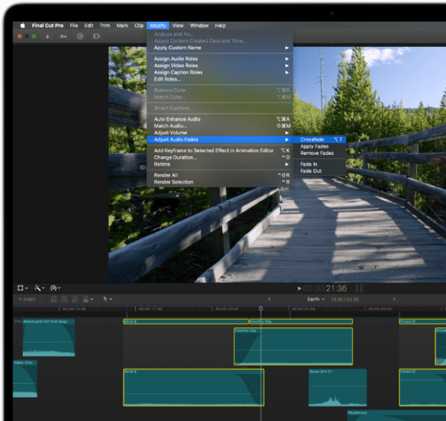 Audio crossfades can be applied to adjacent clips in one easy step.