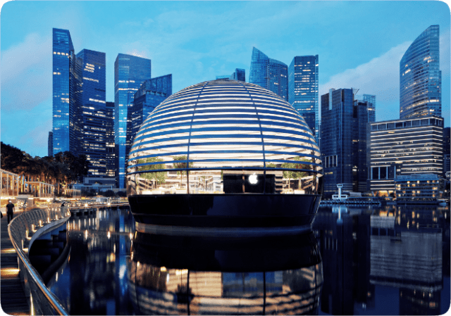Apple Marina Bay Sands looks like a floating sphere, and is the first Apple store to sit directly on the water.