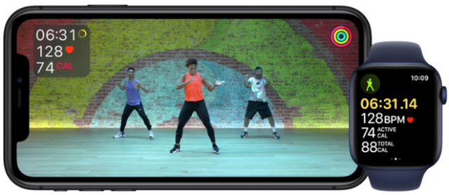 Metrics come to life on the screen for motivation during Apple Fitness+ workouts.