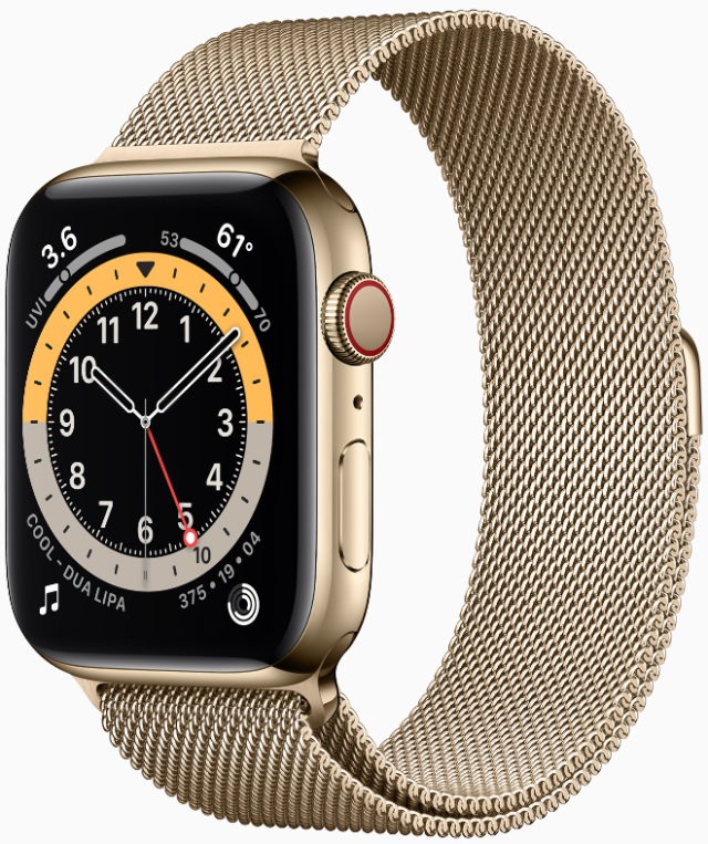 Apple Watch Series 6 in the new yellow gold stainless steel case.