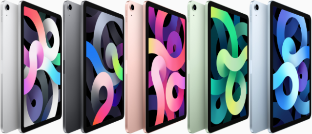 The new iPad Air features a completely new thin and light design in five gorgeous finishes: silver, space gray, rose gold, green, and sky blue.