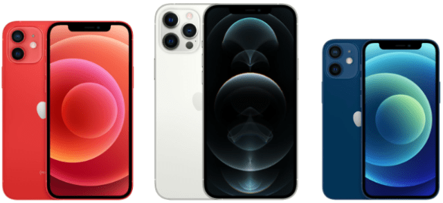 Apple's all-new iPhone 12, iPhone 12 Pro Max, and iPhone 12 mini (left to right)