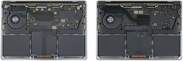 Left: MacBook Pro 13″ (Intel). Right: MacBook Pro 13″ with Apple M1