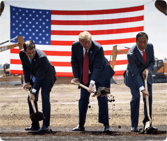 President Trump participates in a groundbreaking for the Foxconn facility in Mount Pleasant, Wisconsin in 2018. Photographer: Brendan Smialowski/AFP/Getty Images