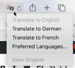 translate in Safari for Mac