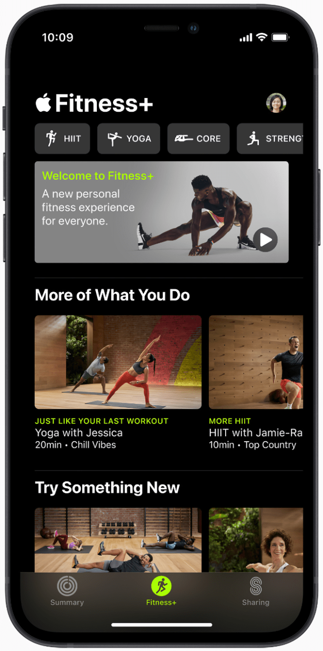 The browse experience in Apple Fitness+ makes getting started with a great workout quick and simple.