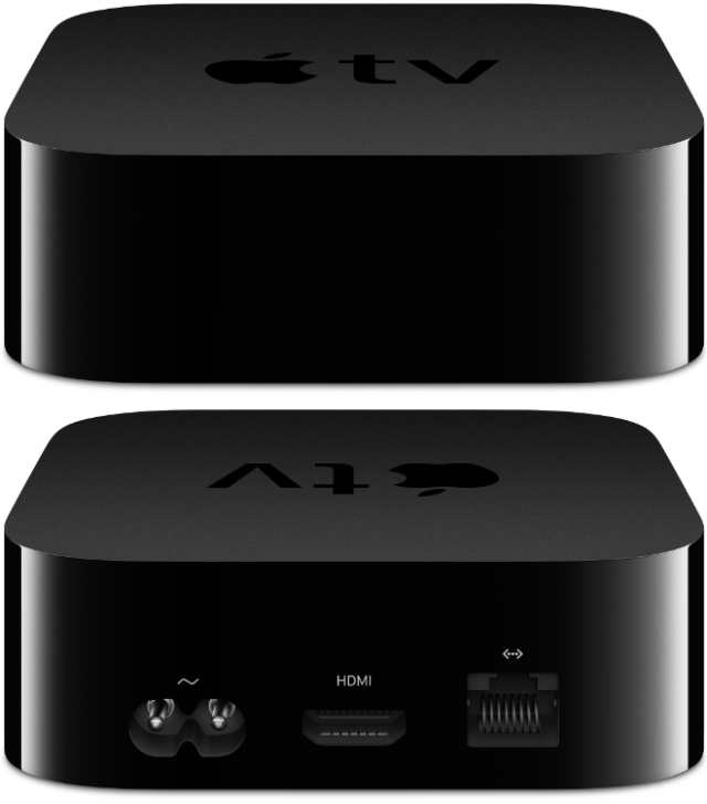 Apple TV 4K front (top) and rear (bottom)