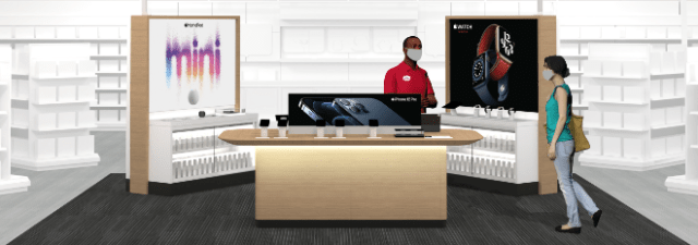 Target to add 'enhanced Apple shopping experiences' in store and online. Image: A concept illustration of the new Apple destination at Target, currently rolling out in select locations
