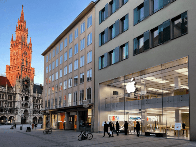 Apple team members work in seven branches and two of the 15 German Apple stores are located in Munich