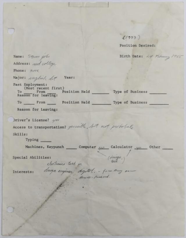 Steve Jobs' 1973 hand-written and signed job application