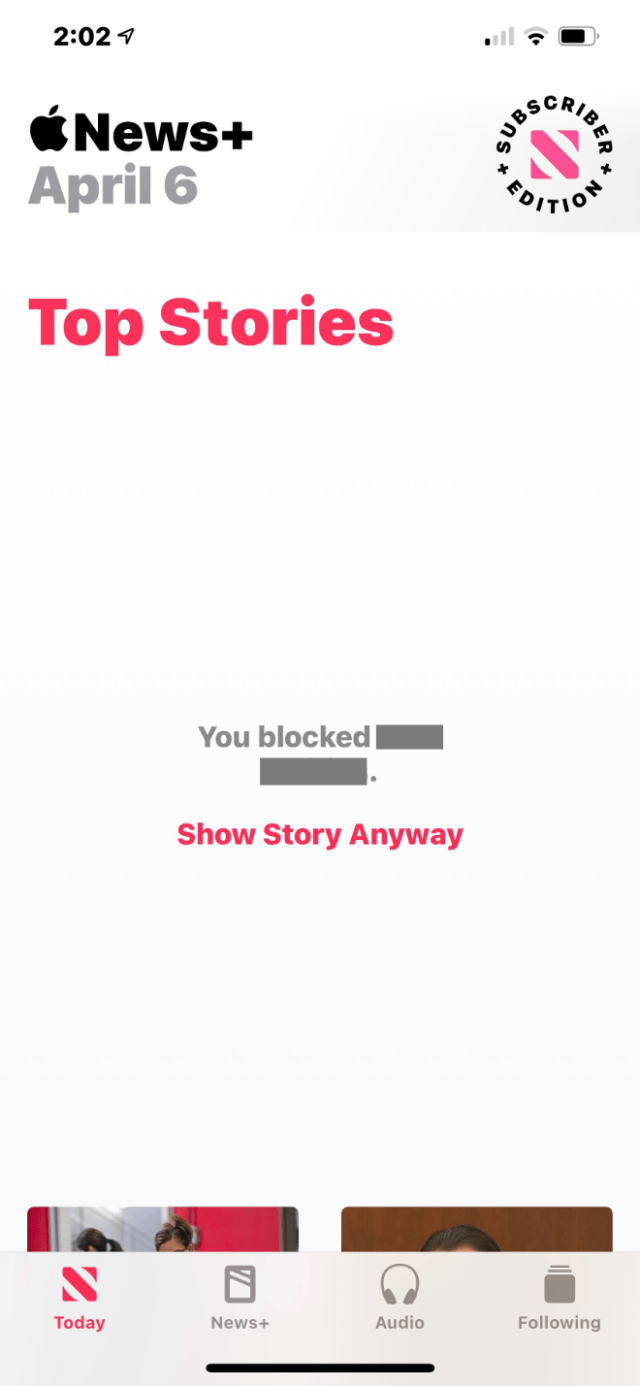 "Apple News+: ""You blocked [source]. Show Story Anyway"" screenshot"