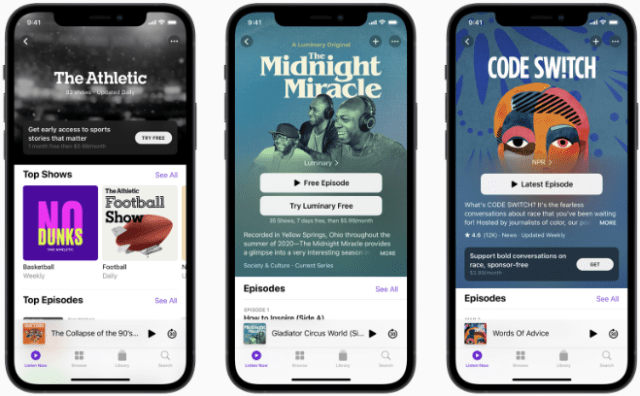 Apple Podcasts Subscriptions is a global marketplace for listeners to discover premium subscriptions offered by their favorite creators, including The Athletic and NPR. The Midnight Miracle, the groundbreaking new original series hosted by Talib Kweli, Yasiin Bey, and Dave Chappelle, will be available next month with a subscription to the Luminary channel on Apple Podcasts.