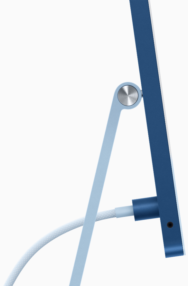 To complete its simplified design, the new iMac features a woven, color-matched cable and power connector that attaches magnetically.