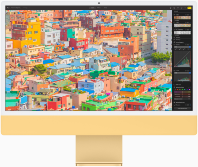 On the new iMac with M1, users can fly through edits to their images in Photos.