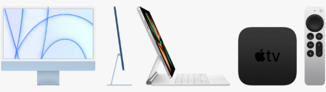Customers began ordering the all-new M1 iMac (left), M1 iPad Pro (center), and Apple TV 4K (right) on April 30th