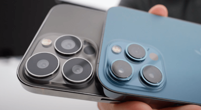 'iPhone 13 Pro Max' dummy model (left) shows noticeably larger camera lenses vs. IPhone 12 Pro Max (right)