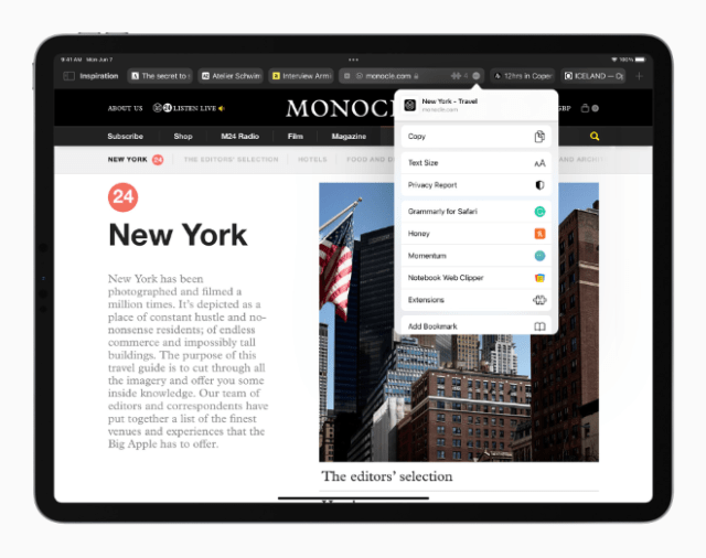 Safari reimagines the browsing experience with a new tab design that lets users see more of the page as they browse.