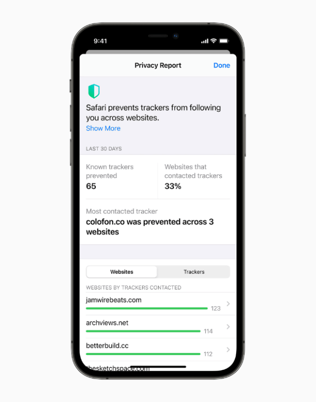 Safari Privacy Report shows you all the cross-site trackers that are being blocked by Intelligent Tracking Prevention in Safari.