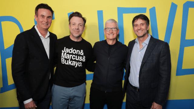 "Zack Van Amburg, Jason Sudeikis, Tim Cook and Jamie Erlicht attend the ""Ted Lasso"" season two premiere in Los Angeles, CA."