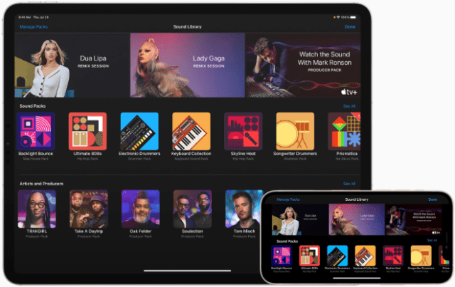GarageBand now includes an expanded Sound Library with Sound Packs from some of today's top artists and music producers.