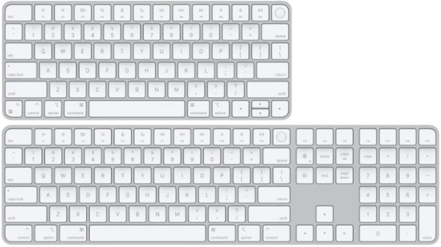 Magic Keyboard with Touch ID for Mac models with Apple silicon (top) and Magic Keyboard with Touch ID and Numeric Keypad for Mac models with Apple silicon (bottom)